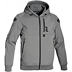 "JET Motorcycle Motorbike Protective Jacket Black and Grey Hoody Armoured Soft Shell (M (38"" - 40""), Grey)"
