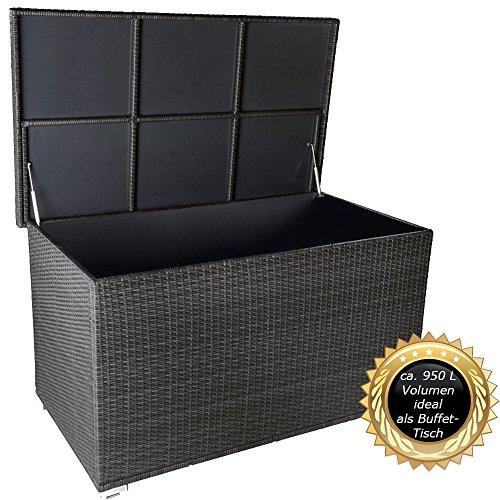 """RS Trade PREMIUM """"Venezia"""" 950 L XXL Kissenbox (es regnet nicht rein) L 146 cm x B 83 cm x H 80 cm ideal als Buffet Tisch nutzbar mit 2 x Gasdruckstoßdämpfer und eingebauter Tischplatte Farbe: Silber"""