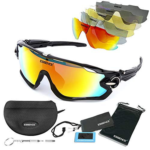 c289f26d5a61 essence  Polarised Sports Sunglasses - Mens   Womens Cycling Glasses +5  Interchangeable lenses with