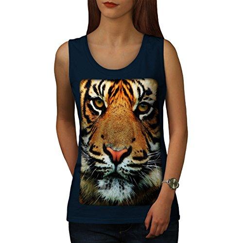 Tiger Gesicht Natur Tier Wild Leben Damen S-2XL Muskelshirt | Wellcoda Marine