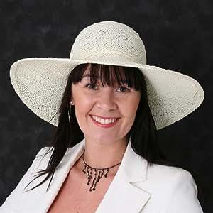 Ladies Large Wide Brim Crushable Straw Hat Cream Ref: S31