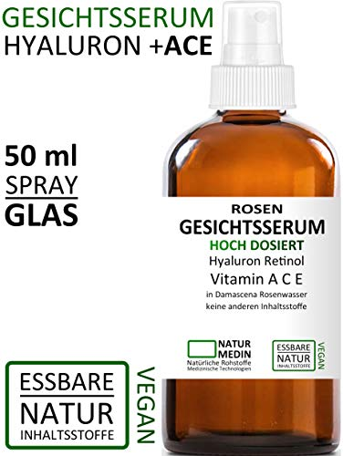 Gel Vitamin C Vitamine (Rosenwasser GESICHTS-SERUM 50ml, Hyaluron-säure Vitamin A C E Retinol, Hochdosiert All-in-1 anti-aging Falten Augen-Gel Serum, 100% naturrein und essbare Inhalsstoffe, Spray Glasflasche, nachhaltig)