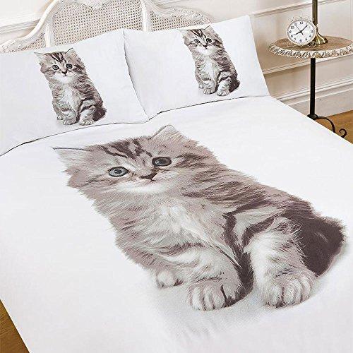Dreamscene–lujosamente Suave Animal de Gato Funda de edredón Juego de Cama con Fundas de Almohada de Cama de Matrimonio, 5Piezas,, Cama Individual