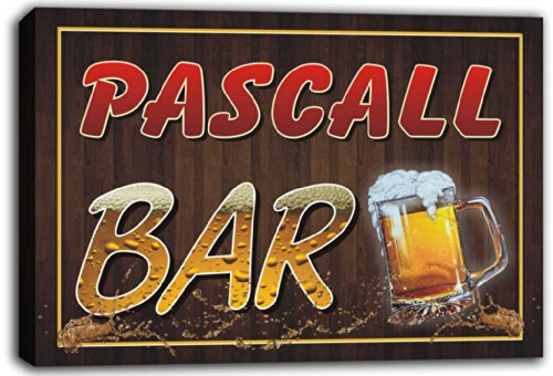 scw3-063570-pascall-name-home-bar-pub-beer-mugs-stretched-canvas-print-sign