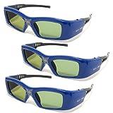 "3 Stück VIDIMENSIO® DLP Pro 7G - 3D Brille ""Blue"