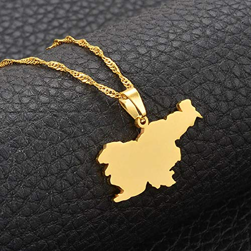 XZZZBXL Map Necklace for Women,Slowenien Karte Flagge Anhänger Halsketten Mode Persönlichkeit Für Frauen Mädchen Gold Farbe Charme Karten Schmuck 45 cm (18 Zoll)-Thin_Kette