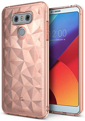 Ringke LG G6 Schutzhülle AIR Prism 3D Design, Ultra chic dünn schlang geometrisches Muster Flexible Kompletthülle texturiert schützend TPU Fall geschützt Cover für das LG G6 - Rosengold -