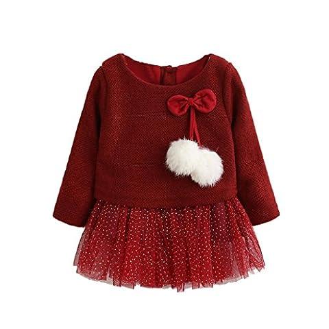 Tonsee Bébé enfants Filles Manches longues tricoté arc tutu princesse robe 0-24 mois (12-18 mois, Rouge)