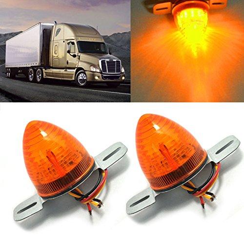 Preisvergleich Produktbild Hrph 2pcs 2inch Auto 10 LED Seitliche Markierung Licht Metall Basis Bienenstock Amber Clearance Lampen LKW RV