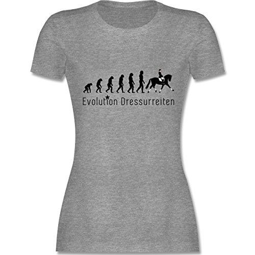 Evolution - Dressurreiten Evolution - S - Grau Meliert - L191 - Damen T-Shirt Rundhals