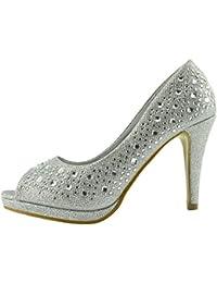 De La Mujer Zapatos De Tacón Alto Diamond Decoración Abrir El Dedo Del Pie Zapatos De Boda