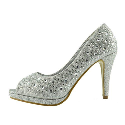 Kick Footwear - Donna Tacchi A Spillo Diamante Arredamento Open Toe Scarpe Da Sposa Argento