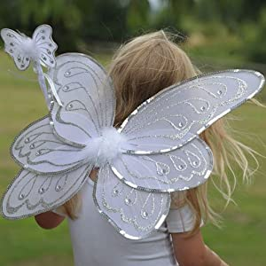 White and Silver Fairy Wings with Wand (accesorio de disfraz)