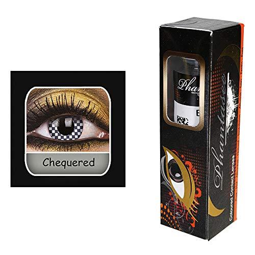 Kontaktlinsen ''Kariert'' | Karneval | Fasching | Motivlinsen | ohne Stärke | Eyecatcher | Accessoire | Kostüm | Geschenkidee | Tageslinsen | Preis am Stiel® (Cyborg Kostüm Accessoires)