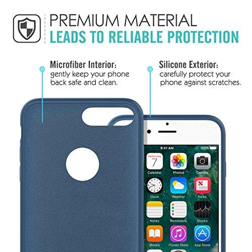 MoKo Hülle für iPhone 7 Plus - Premium Ultra Slim Flexible Silikon Handy Schutzhülle Schale Stoßfest Phone Case Cover Bumper für Apple iPhone 7 Plus 5.5 Zoll Smartphone, Rosa sand Blau Meer