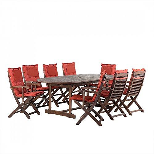 Gartenmöbel - Balkonmöbel - Holzmöbel - Tisch + 8 Sessel + 8 Terracotta Auflagen – MAUI