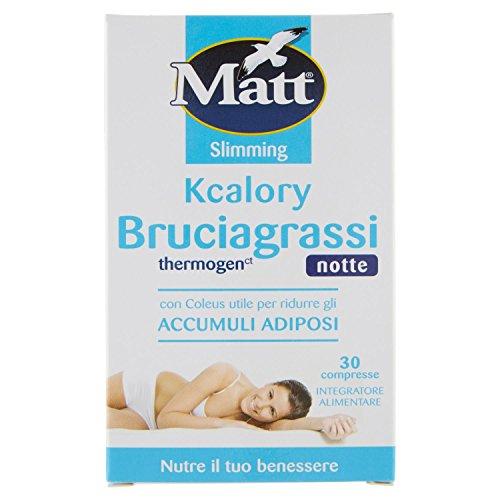 Matt Bruciagrassi Kcalory Thermogenct Notte Integratore Alimentare, Compresse Brucia Grassi Rassodante Snellente - 10 gr
