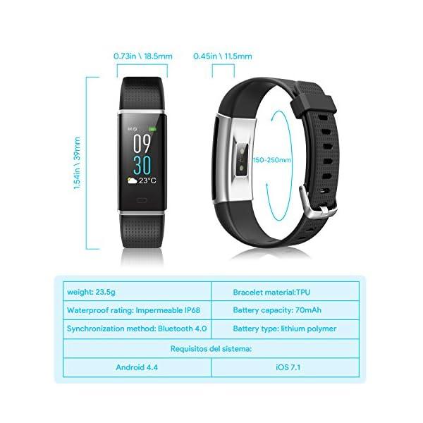 NAIXUES Smartwatch, Reloj Inteligente IP67 con Presión Arterial, 10 Modos de Deporte, Pulsómetro, Monitor de Sueño, Notificaciones Inteligentes, Smartwatch Hombre Mujer para iOS y Android (negro2) 7