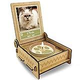 TROSTLICHT | Trauerkerze Katze | personalisiert mit Foto & mit Namen | Holz-Box mit Spruch & Pfote | Andenken Katze Erinnerung | Trauer Haustier (Spruch Herz)