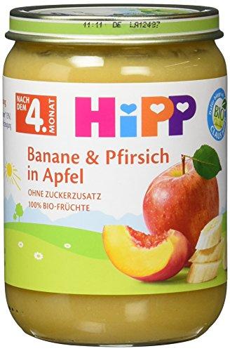 Hipp Banane und Pfirsich in Apfel, 6er Pack (6 x 190g)