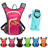 Asiki 12L Hydration Pack with 2L Water Bladder - Waterproof Camping Hiking Running Biking Trekking Climbing Cyclng Hydration Backpack & Rucksack (Pink)