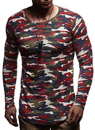 Leif Nelson Herren Pullover Rundhals-Ausschnitt Schwarzer Männer Longsleeve dünner Pulli Sweatshirt Langarmshirt Crew Neck Jungen Hoodie T-Shirt Langarm Oversize LN8133 Rot Camouflage XX-Large