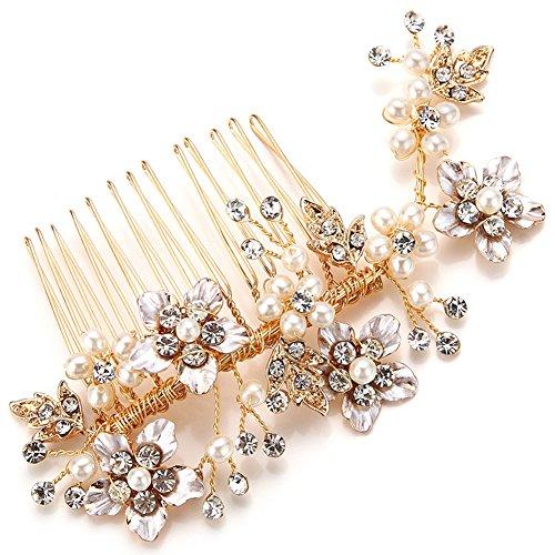 Vintage Gold Zweig Crystal Pearl Seite kämmt Braut Kopfschmuck Hochzeit Zubehör