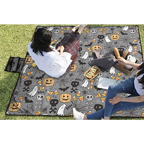 BigHappyShop Picnic Blanket Halloween Doodle with Skulls Bat Pumpkin Spiderweb Ghost On Grey Waterproof Extra Large Outdoor Mat Camping Or Travel Easy Carry Compact Tote Bag 59