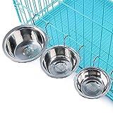 Yosoo Gamelle Bol avec Crochet sur Cage en acier inoxydable pour Chien Chat Lapin Nourrisseur d'eau nourriture bol tasse avec Support(S)