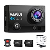 Action Cam, WiMiUS Fotocamera Subacquea 4k HD 16MP Action Camera WIFI, Videocamera Impermeabile con Telecomando 2.4G + 2 Batterie + 25 accessori (Nero) immagine