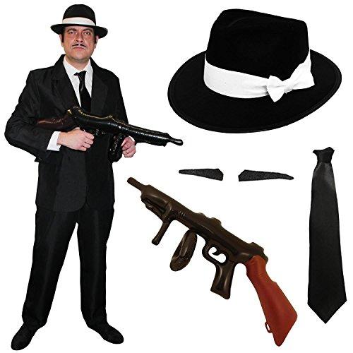 ERWACHSENEN GANGSTER/GANOVEN = SCHWARZER HOSENANZUG ANZUG = DER ANZUG IST ERHALTBAR IN 5 VERSCHIEDENEN GRÖSSEN = 2-TEILIGER HOSE ANZUG = KOMMT MIT EINEM GANGSTER HUT = ERHALTBAR IN 58cm ODER (Halloween Kostüme Gangster Squad)