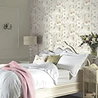 Arthouse VIP Felicity Floral Pattern Paris Silver Butterfly Motif Wallpaper (Natural 665400) from Arthouse