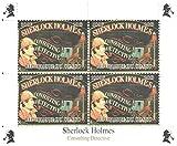 Sherlock Holmes Briefmarken für Briefmarkensammeln - Sherlock Holmes Consulting Detective. 4 postfrische Briefmarken auf einem Briefmarkenbogen aus den Angeln gehoben - lose