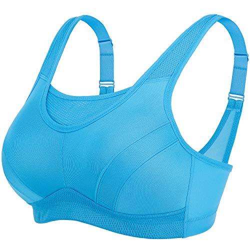 Deyllo Damen Sport BH Starker Halt Große Größen Sport-BH für Fitness Lauf Yoga (Blau, 75D) - Sport-bh 34d