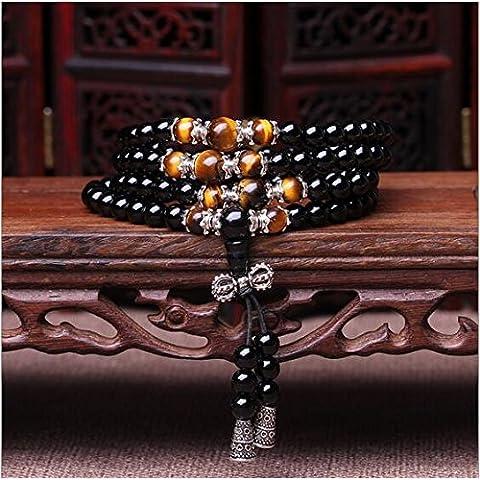 XJoel 108 perline braccialetto gioielli onice naturale pietra tallone strati tratto Bracciale Occhio di Tigre per uomini e donne - Pietra E Chiave Collana