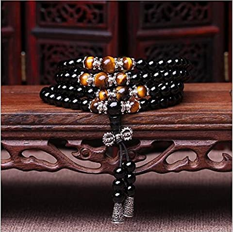 XJoel 108 Beads Natural Onyx Stone Bead Wrist Bracelet Tiger