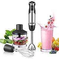 Stabmixer, Aicok 4 in 1 Pürierstab, Stabmixer Set mit BPA-FREI 600ml Becher, 500ml Zerhackerbecher und Schneebesen, geeignet für die Zubereitung von babynahrung, Suppen, Salaten, Obst und Gemüse