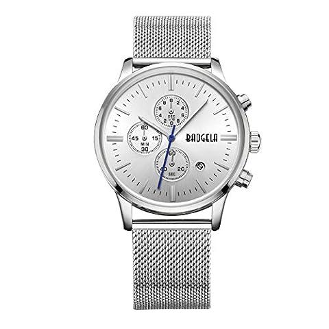 baogela Uhren für Männer Luxus Silber Edelstahl Armband weiß Zifferblatt Chronograph Datum Wasserdicht