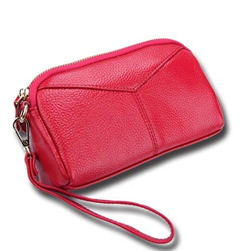 5bf997833d0cc DcSpring Damen Clutch Echt Leder Tasche Elegante Geldbörse Geldbeutel mit  Reißverschluss Rosa