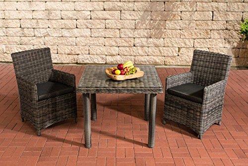 Gartenmöbel, Gartenmöbel-Set, Sitzgruppe Dorado K100, grau-meliert / anthrazit, Polyrattan-Aluminium-Gestell, Gartengarnitur, Sitzgarnitur