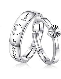 Moneekar Jewels 925 Sterling Silver Cubic Zirconia Couple Ring For Men & Women