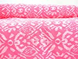#3: Handicraft-Palace Outdoor Sewing & Dress Making Hand Block Ikat Printed Fabric (Pink_Cotton_2.5 Meter)