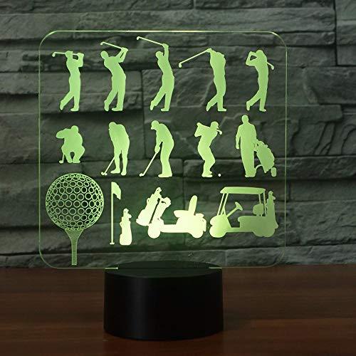 7 Farbwechsel 3D Tischlampe Spielen Golf Man Modell Acryl Led 3D Golfer Nachtlichter Usb Baby Schlaf Beleuchtung Schlafzimmer Dekor
