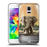 Head Case Designs Riesiger Elefant Tiere Im Glas Soft Gel Hülle für Samsung Galaxy S5 mini