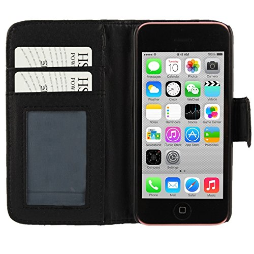 Wkae Case Cover karo - muster lederetui mit credit card slots und des iphone 5 c ( Color : White ) Black