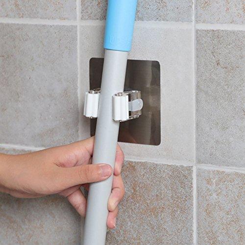 hapileap 3m selbstklebend Wand montiert Mop Regenschirm Haken Besen Aufhänger Halter mit Spring Clip Design Bad montiert Home Werkzeuge 3Pc Aufhänger Der Rückseite Der Tür