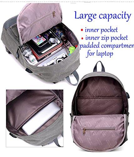 Super Modern Unisex Leinwand USB Schule Bag Travel Super Break mit Kopfhörer Loch Wandern Rucksack Cool Sport Rucksack Laptop-Tasche seeblau