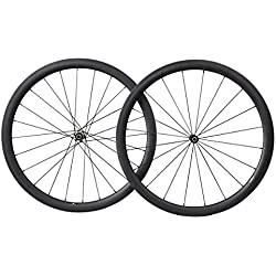 40mm 700C Aero Carbono Bicicleta Carretera Rueda Clincher Tubeless Ready 25mm Novatec Buje 1495g