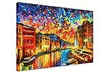 CANVAS IT UP New Venice Grand Canal von Leond Afremov in auf Rahmen Leinwand Bild Modern Art Wand Prints Größe: 76,2x 50,8cm (76x 50cm) Schwarz Freitag