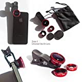 #6: SMM Universal Clip Type 3 in 1 Fish eye, Wide Angle & Macro Lens for Mobile Phone iPhone 4S 5 5S 6 Plus Samsung Galaxy HTC (Assorted Color)